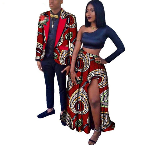African Couples Dashiki Blazer for Man Matching Long Skirt for V11647