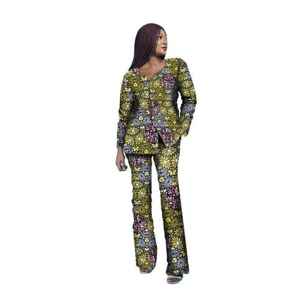 Dashiki Kitenge Cotton Wax African Print Women Shirt with Pants Set X10684