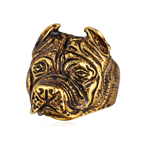 French Bulldog Punk Ring Men Jewelry Wholesale Gold Color Stainless Q50138