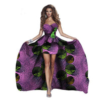 Sexy Vestidos African Dress For Women Bazin Strapless with Headtie X11365