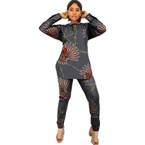 Kitenge Custom African Print Women 2-Piece Top with Pants Set Ankara X10679