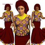 African Design Skirt Set Clothing Traditional Bazin P X11026