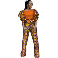 African Clothing Jumpsuit Women Ruffles Sleeve Jumpsuit Dashiki Cotton X11516