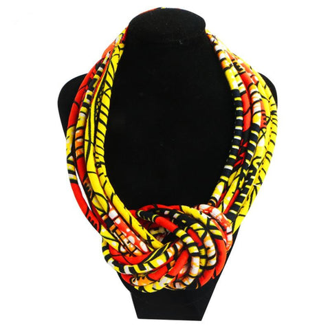Fashion African Necklaces Women Wax Cotton Rope Chain Statement Handmade Q11761