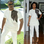African Style Clothing For Family Couple Man Woman Embroidered Bazin V21619