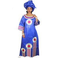 African Embroidered Bazin Riche Brocade Long Dress With Scarf for X21145