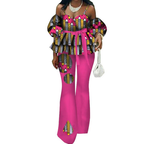 African Style Women Ruffles Spaghetti Strap Top and Flare Pants Sets with X11442