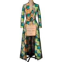New African Trench Coat For Women Maxi Outwear Dashiki Wax Print Custom X10387