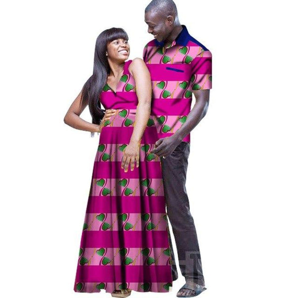 African Outfit Couple Matching Style Man Shirt Woman Dress Lovers Cotton V11671