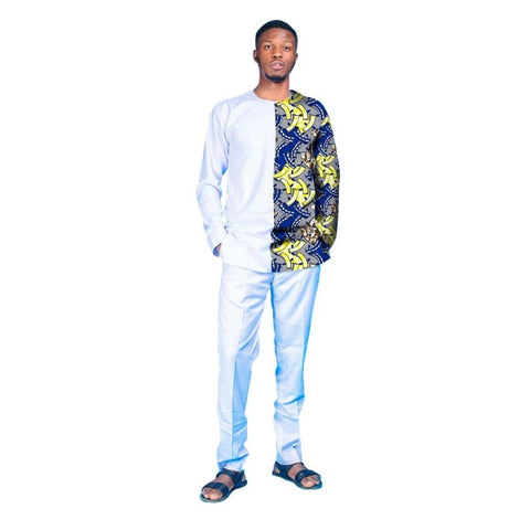 African Men Clothing Top-Shirt + Pants-Trousers White Cotton Wax Print Y10823