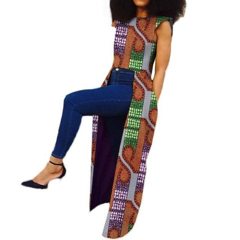 Customized African Print Sleeveless Trench Coat for Women X10410