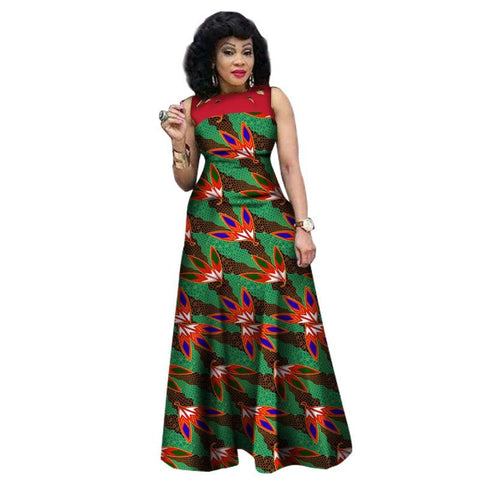 African Clothing Sleeveless Sexy Long Dress Women Cotton Print Kitenge X11417