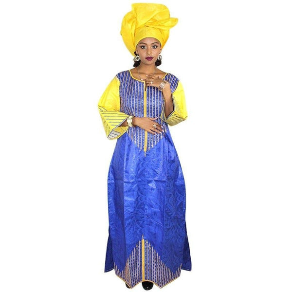 African Women Clothing Embroidery Bazin Riche Design Long Dress with X21261