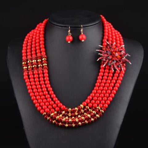 Nigerian Wedding Bridal Jewelry Sets Crystal Flower Necklace  Q50202