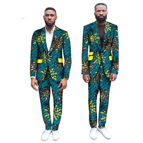 Bespoke African Print Slim Blazers Business Dress Suits-Pants Set Y10889