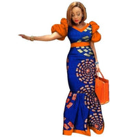 New Bazin Riche African Clothing Women Print Splice Puff Sleeve  X11447