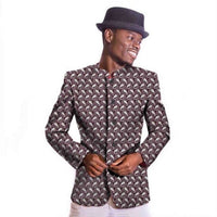 Chinese Tunic Style Afrcian Ankara Cotton Wax Blazer Batik Suit for Men Y10530