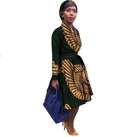 African Traditional Dashiki batik Print Trench Coat Robe for Women X10422