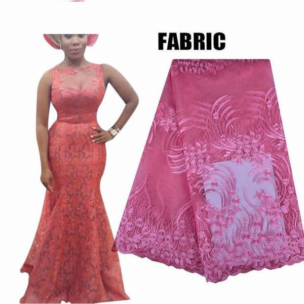 Embroidered African Lace Mermaid Style Long Dress for X30906