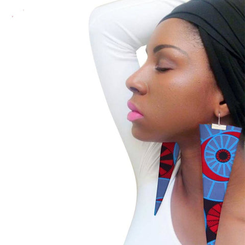 Trendy African Fabric Handmade Earrings Women Party Gift Ankara Dashiki Q11773