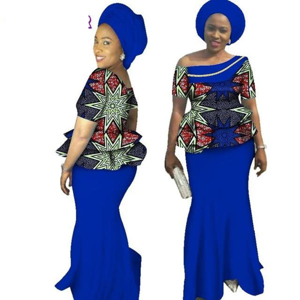African Women Traditional Bazin Print slash neck skirt set With X10990