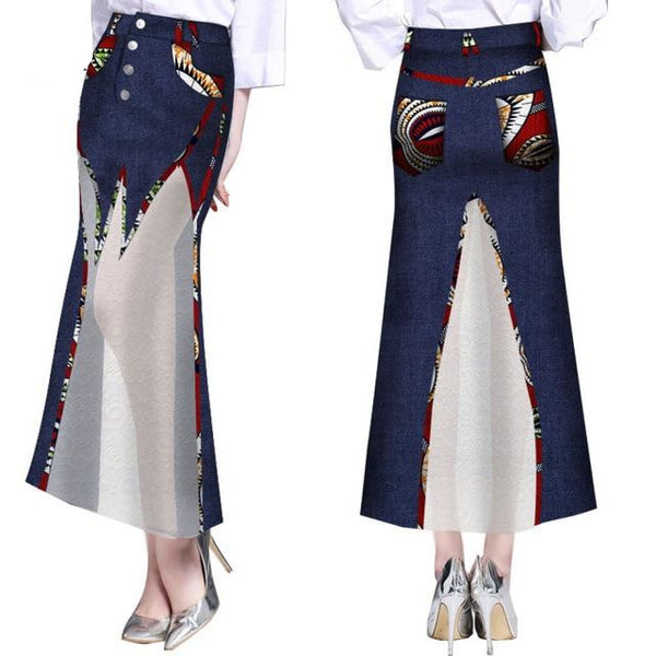 Cowboy - cowgirl Long Skirt with African Print Patchwork X11129