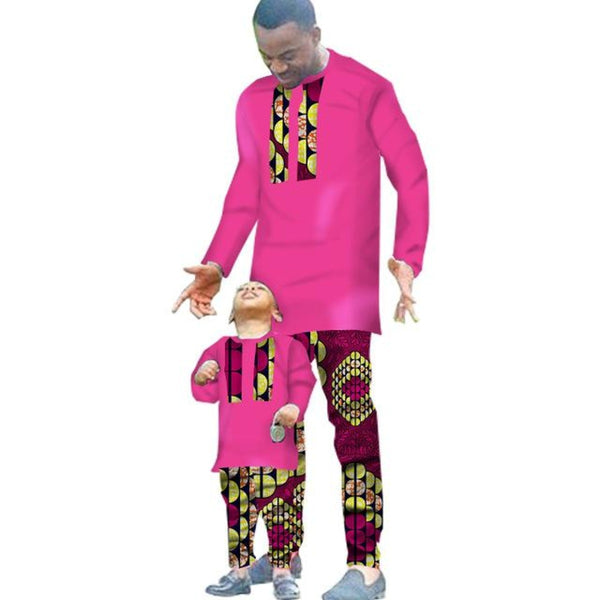 African Clothing 2 Pieces Set For Man and Boy Long Sleeve Shirt V11612