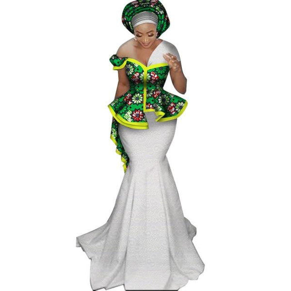 African Dashiki Cotton Wax Applique Blouse with Lace Skirt Set for X11336