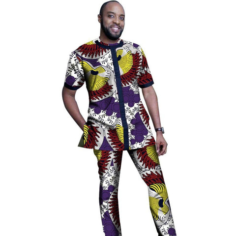African Men Custom Clothing Top-Shirt + Pants-Trousers Dashiki Cotton Wax Y10822