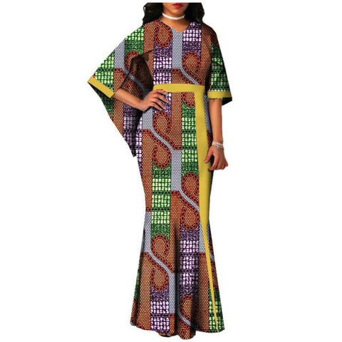 African Clothing Pleated Maxi Style Long Dress For Women Cotton Print X11404