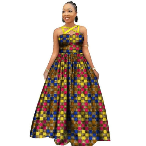 Elegant African Style Long Dress Women Cotton Print Kitenge Ankara X11419