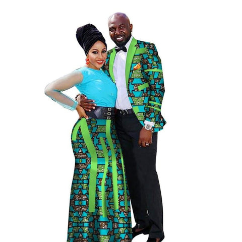 Dashiki African Couple Clothing - Woman Skirt and Man Matching V11661
