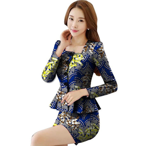 African Ankara Cotton 2Piece Blazers- Short Skirt Suit Set For Women X10594