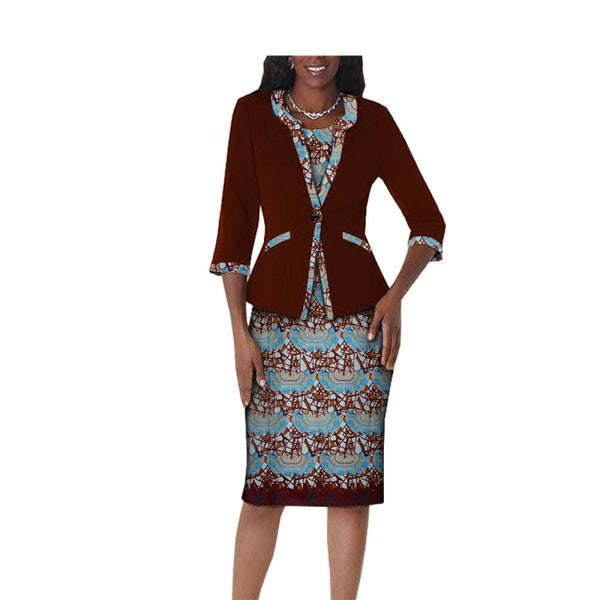 African Women Dress 2-Pc 3/4 Sleeve Button knee-Length with X11097