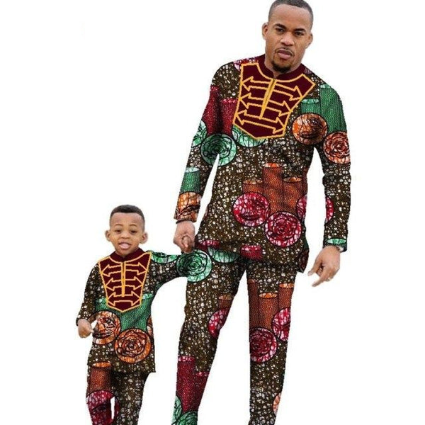 Ankara African Family dress Top Shirt and Pants Sets for dad and son V11611