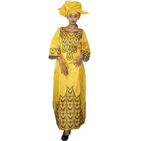 African Women bazin riche embroidery design caftan  X21226