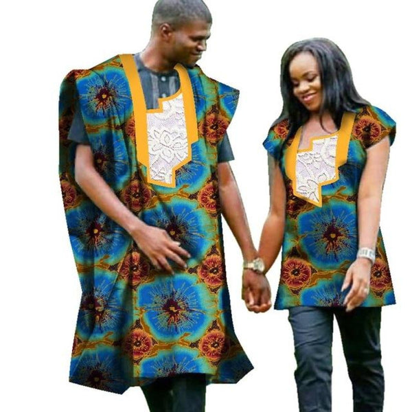 Traditional African Print Top For Couple Bazin Dashiki Clothing Man V11696
