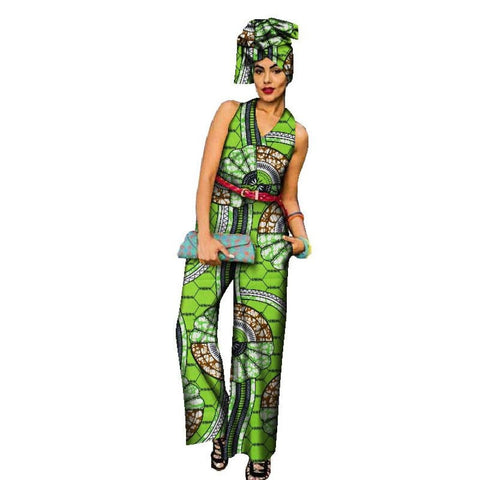 African Women Romper Jumpsuit Straight Long Pants with High Waist X11512