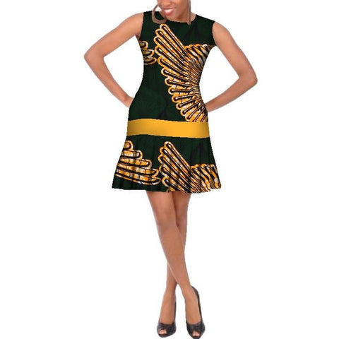 Traditional African Wax Print sleeveless short dress for X11085
