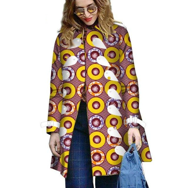 Dashiki African Bazin Print Trench Coat for X10386
