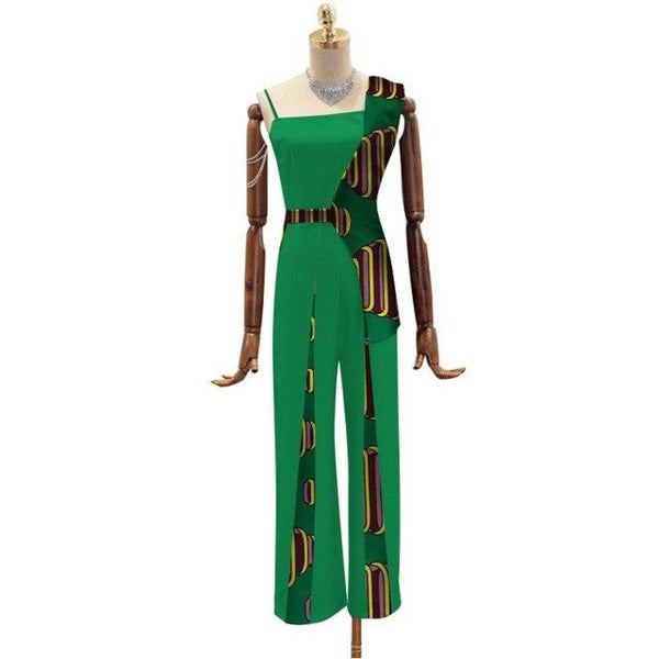 African Wax Print Jumpsuit For Women Fashion Vestidos Bazin Patchwork X11500