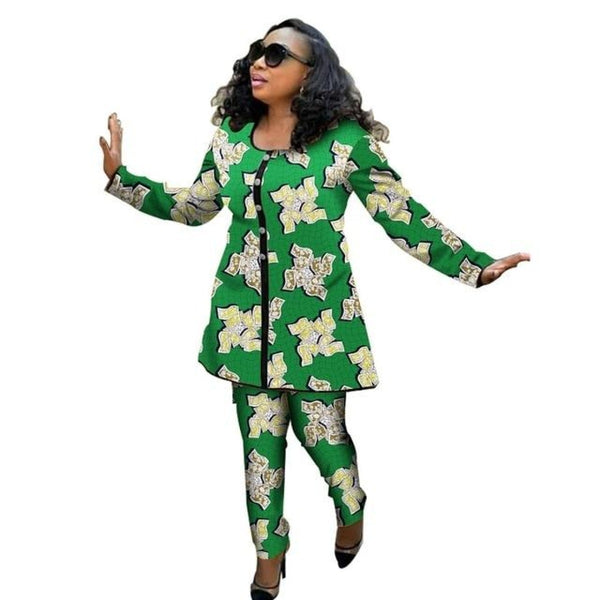 Ankara Custom African Print Women 2Piece Top with Pants Set Ankara X10683