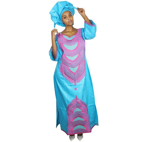 African Women Embroidered Long Kaftan Dress with scarf X21233