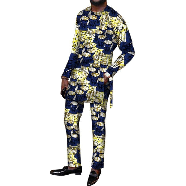 African Men Tailor-Made Clothing Top-Pants Set Long Sleeve Dashiki Cotton Y10829