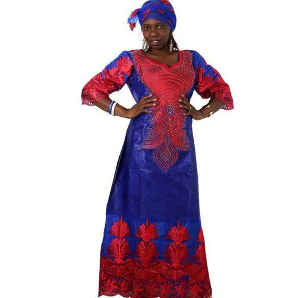 African Embroidered Long Kaftan Dress with Scarf X21232