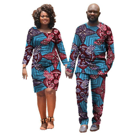 African Clothing For Couple Dashiki Men Shirt Women Dress For Lovers 2-Pc V11691