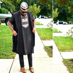 Traditional Agbada Bazin Robe with Inner-Suit and Pants for Africain Y20786