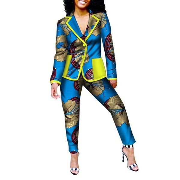 African Print patchwork Office pants-suit set for women X10710
