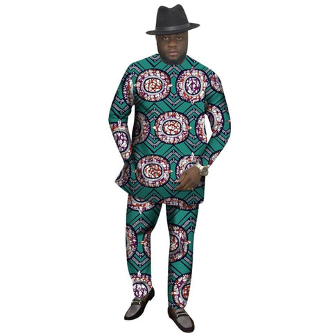 African Men Clothing Top-Shirt + Pants-Trousers Set Dashiki Ankara Y10821