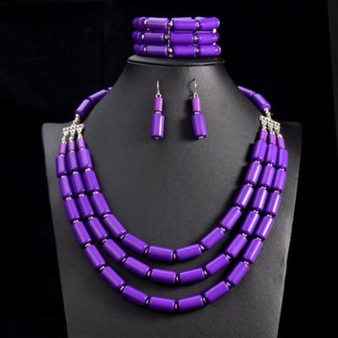 Nigerian Wedding Indian Jewelry Sets Beads Necklace Earring Bracelet Sets Q50206
